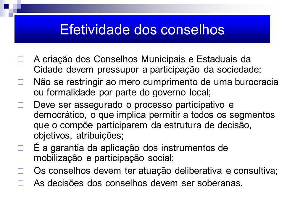 Efetividade dos conselhos A criação dos Conselhos Municipais e Estaduais da Cidade devem pressupor a participação da sociedade; Não se restringir ao m