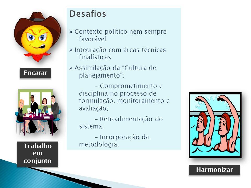 Desafios » Contexto político nem sempre favorável » Integração com áreas técnicas finalísticas » Assimilação da Cultura de planejamento: - Comprometimento e disciplina no processo de formulação, monitoramento e avaliação; - Retroalimentação do sistema; - Incorporação da metodologia.