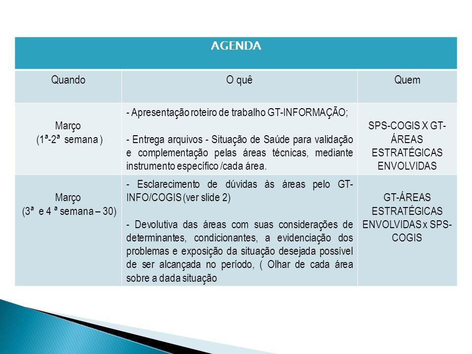 AGENDA QuandoO quêQuem Março (1ª-2ª semana ) - Apresentação roteiro de trabalho GT-INFORMAÇÃO; - Entrega arquivos - Situação de Saúde para validação e complementação pelas áreas técnicas, mediante instrumento específico /cada área.