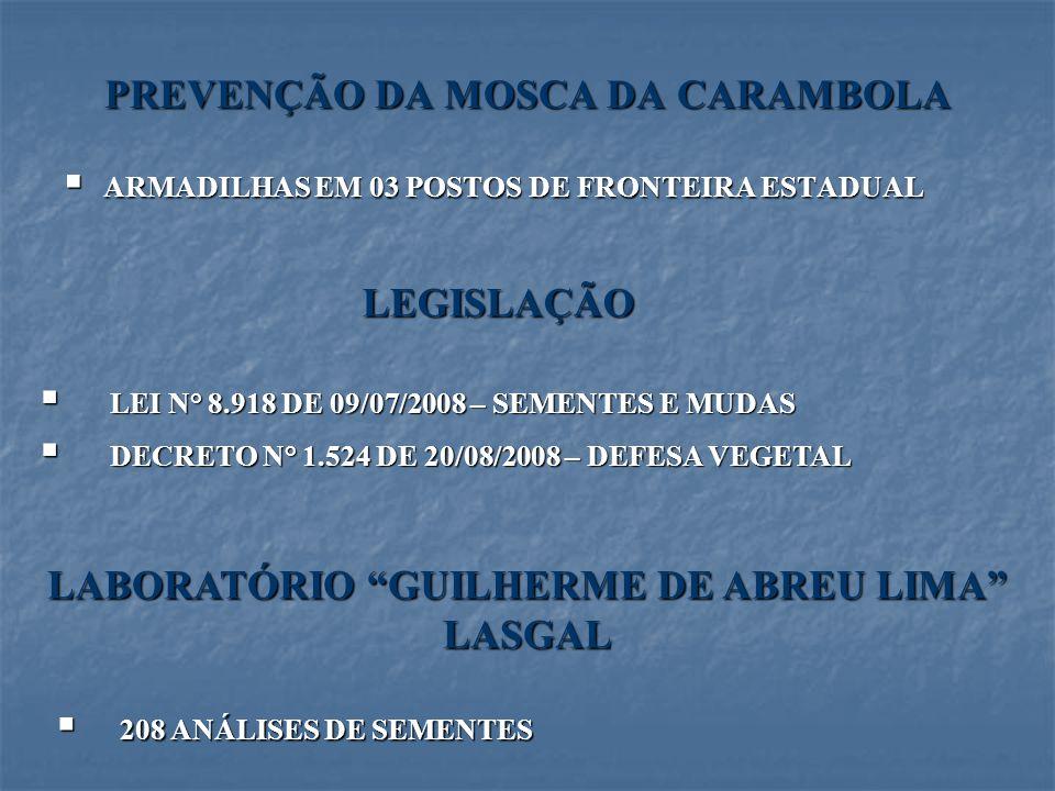 PREVENÇÃO DA MOSCA DA CARAMBOLA ARMADILHAS EM 03 POSTOS DE FRONTEIRA ESTADUAL ARMADILHAS EM 03 POSTOS DE FRONTEIRA ESTADUAL LEGISLAÇÃO LEI N° 8.918 DE
