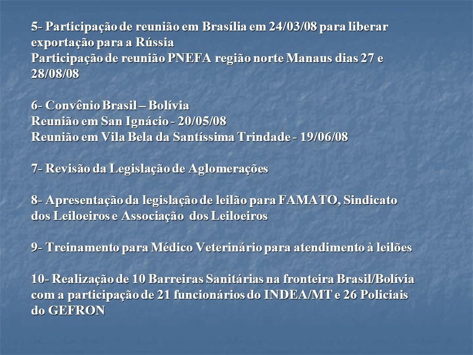 5- Participação de reunião em Brasília em 24/03/08 para liberar exportação para a Rússia Participação de reunião PNEFA região norte Manaus dias 27 e 2