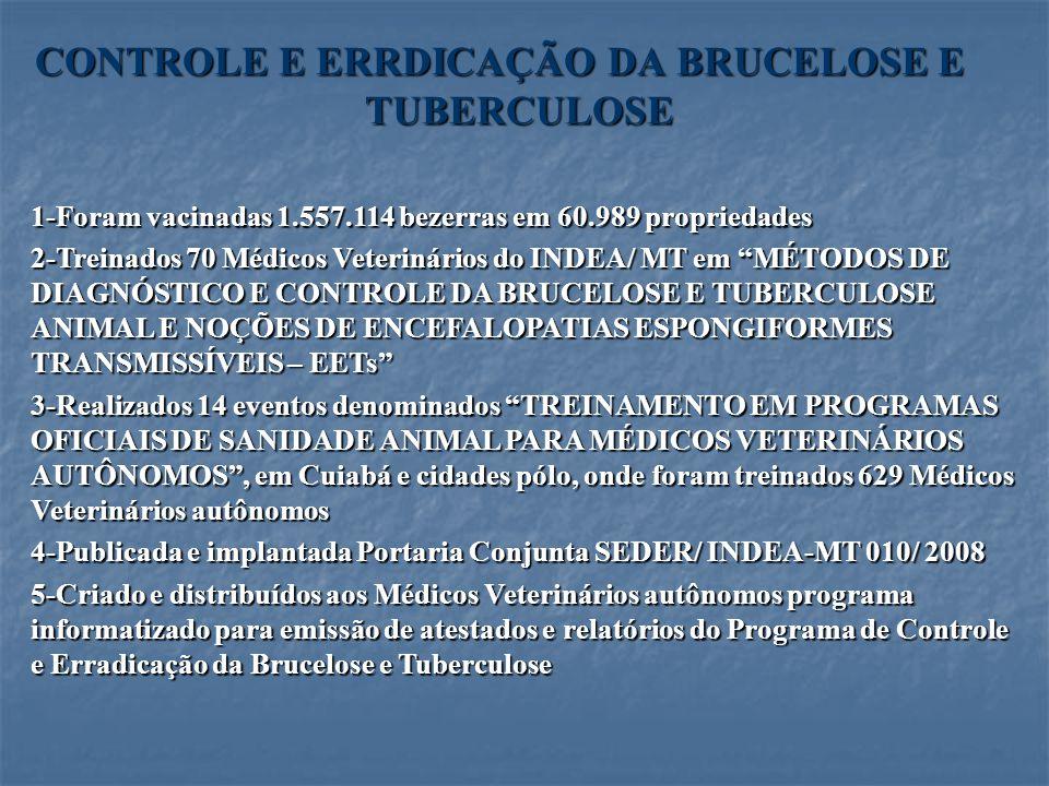 CONTROLE E ERRDICAÇÃO DA BRUCELOSE E TUBERCULOSE 1-Foram vacinadas 1.557.114 bezerras em 60.989 propriedades 2-Treinados 70 Médicos Veterinários do IN
