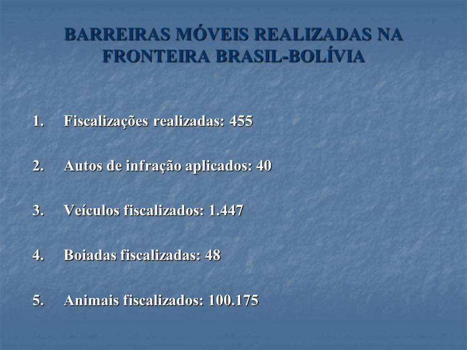 BARREIRAS MÓVEIS REALIZADAS NA FRONTEIRA BRASIL-BOLÍVIA 1.Fiscalizações realizadas: 455 2.Autos de infração aplicados: 40 3.Veículos fiscalizados: 1.4