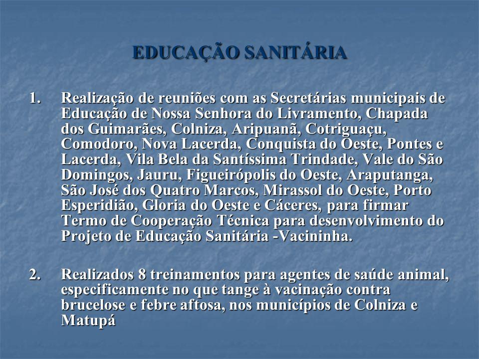 EDUCAÇÃO SANITÁRIA 1.Realização de reuniões com as Secretárias municipais de Educação de Nossa Senhora do Livramento, Chapada dos Guimarães, Colniza,