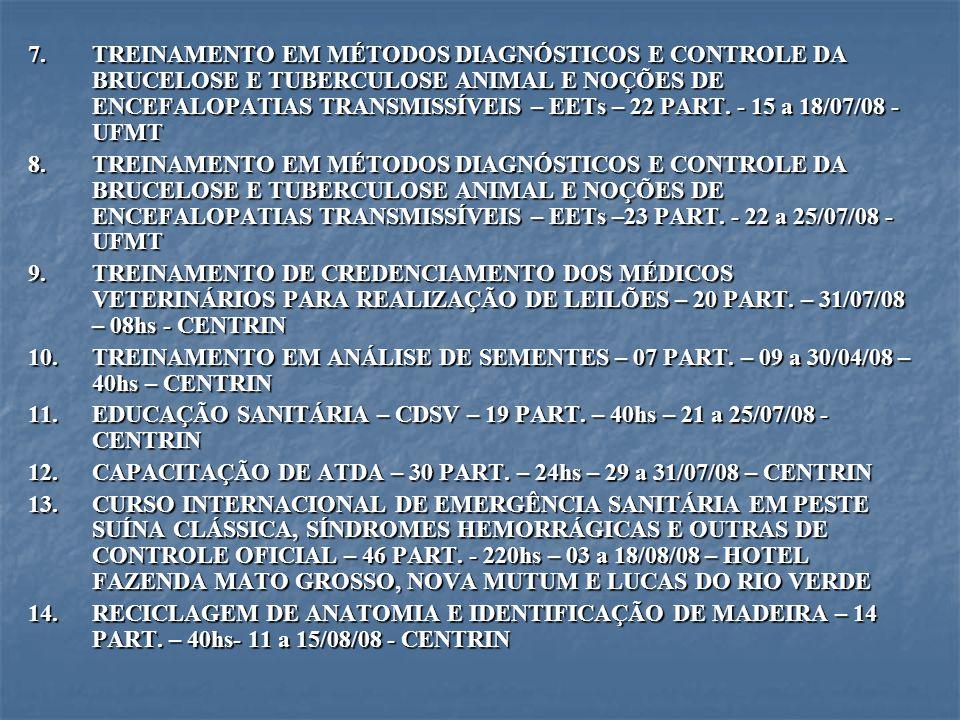 7.TREINAMENTO EM MÉTODOS DIAGNÓSTICOS E CONTROLE DA BRUCELOSE E TUBERCULOSE ANIMAL E NOÇÕES DE ENCEFALOPATIAS TRANSMISSÍVEIS – EETs – 22 PART. - 15 a
