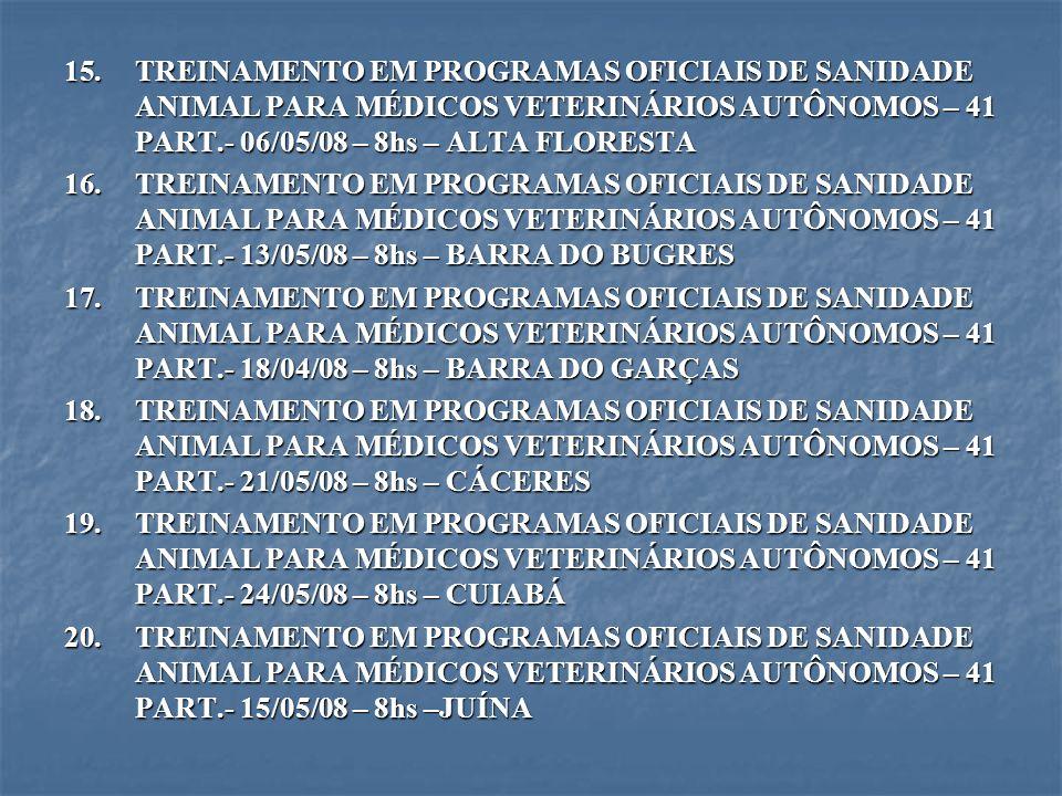 15.TREINAMENTO EM PROGRAMAS OFICIAIS DE SANIDADE ANIMAL PARA MÉDICOS VETERINÁRIOS AUTÔNOMOS – 41 PART.- 06/05/08 – 8hs – ALTA FLORESTA 16.TREINAMENTO