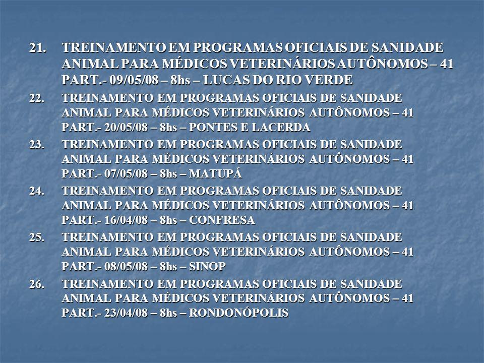 21.TREINAMENTO EM PROGRAMAS OFICIAIS DE SANIDADE ANIMAL PARA MÉDICOS VETERINÁRIOS AUTÔNOMOS – 41 PART.- 09/05/08 – 8hs – LUCAS DO RIO VERDE 22.TREINAM