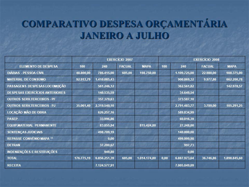 COMPARATIVO DESPESA ORÇAMENTÁRIA JANEIRO A JULHO EXERCÍCIO 2007 EXERCÍCIO 2008 ELEMENTO DE DESPESA100240FACUALMAPA100240FACUALMAPA DIÁRIAS - PESSOA CI