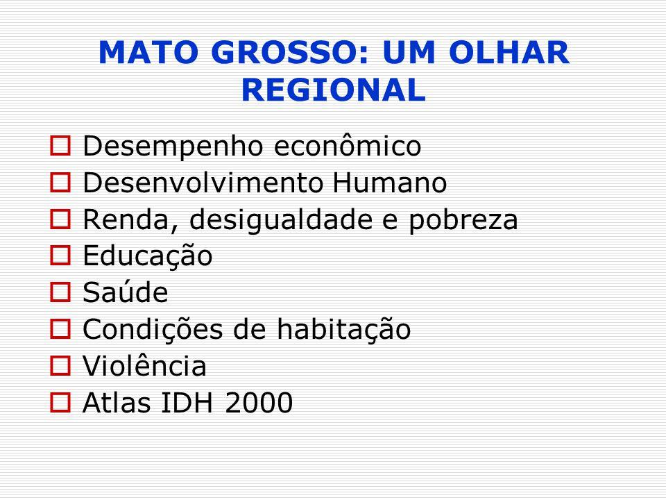 EstadoRegião Percentual de pessoas que vivem em domicílios com banheiro e água encanada, 1991 Percentual de pessoas que vivem em domicílios com banheiro e água encanada, 2000 São PauloSudeste92,9496,60 Distrito FederalCentro Oeste82,7592,69 Rio de JaneiroSudeste89,9192,22 Santa CatarinaSul79,9691,73 Espírito SantoSudeste77,5490,47 Rio Grande do SulSul77,6290,05 ParanáSul74,7989,25 Minas GeraisSudeste73,8187,20 Mato Grosso do SulCentro Oeste72,8886,07 GoiásCentro Oeste64,9685,61 Mato GrossoCentro Oeste56,0971,53 Ranking MT---11º Banheiro e água encanada