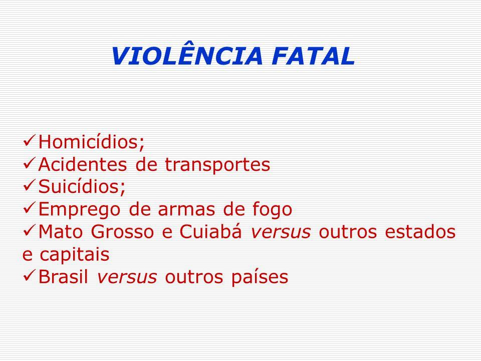 VIOLÊNCIA FATAL Homicídios; Acidentes de transportes Suicídios; Emprego de armas de fogo Mato Grosso e Cuiabá versus outros estados e capitais Brasil