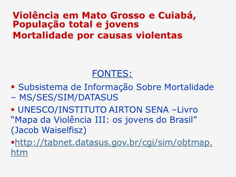 Violência em Mato Grosso e Cuiabá, População total e jovens Mortalidade por causas violentas FONTES: Subsistema de Informação Sobre Mortalidade – MS/S