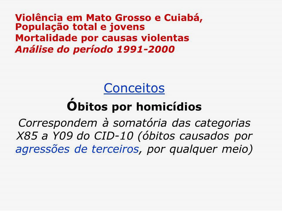 Violência em Mato Grosso e Cuiabá, População total e jovens Mortalidade por causas violentas Análise do período 1991-2000 Conceitos Ó bitos por homicí