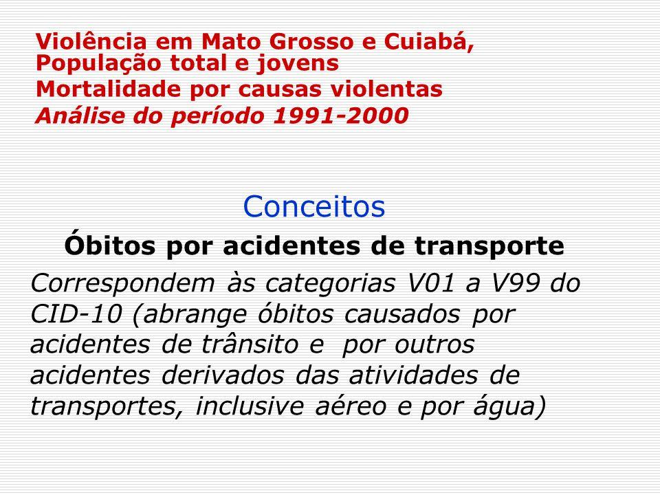 Violência em Mato Grosso e Cuiabá, População total e jovens Mortalidade por causas violentas Análise do período 1991-2000 Conceitos Óbitos por acident