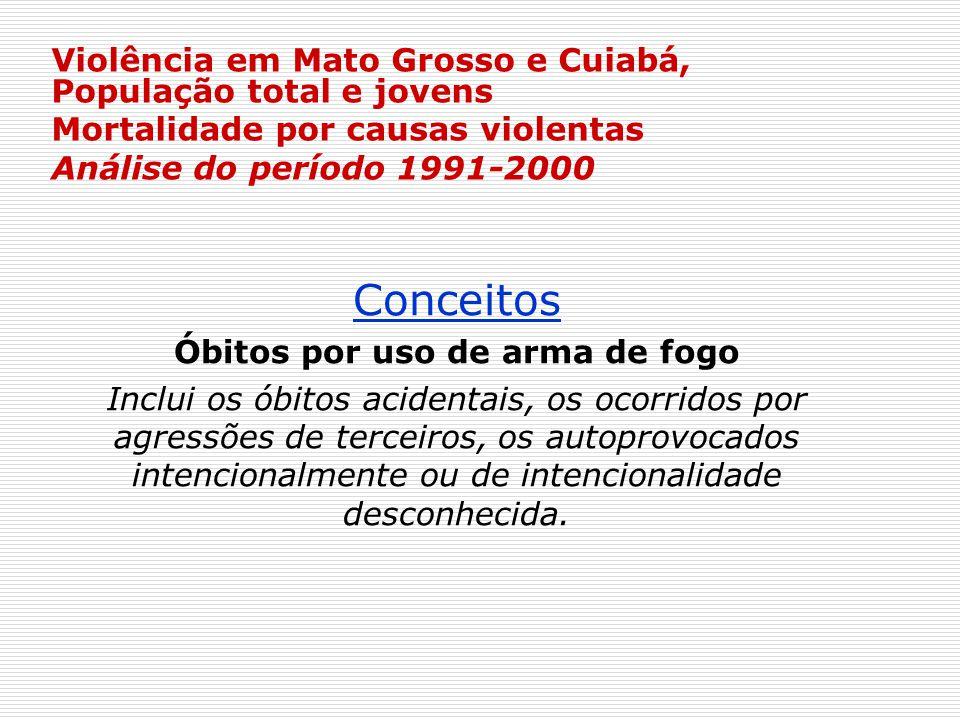 Violência em Mato Grosso e Cuiabá, População total e jovens Mortalidade por causas violentas Análise do período 1991-2000 Conceitos Óbitos por uso de