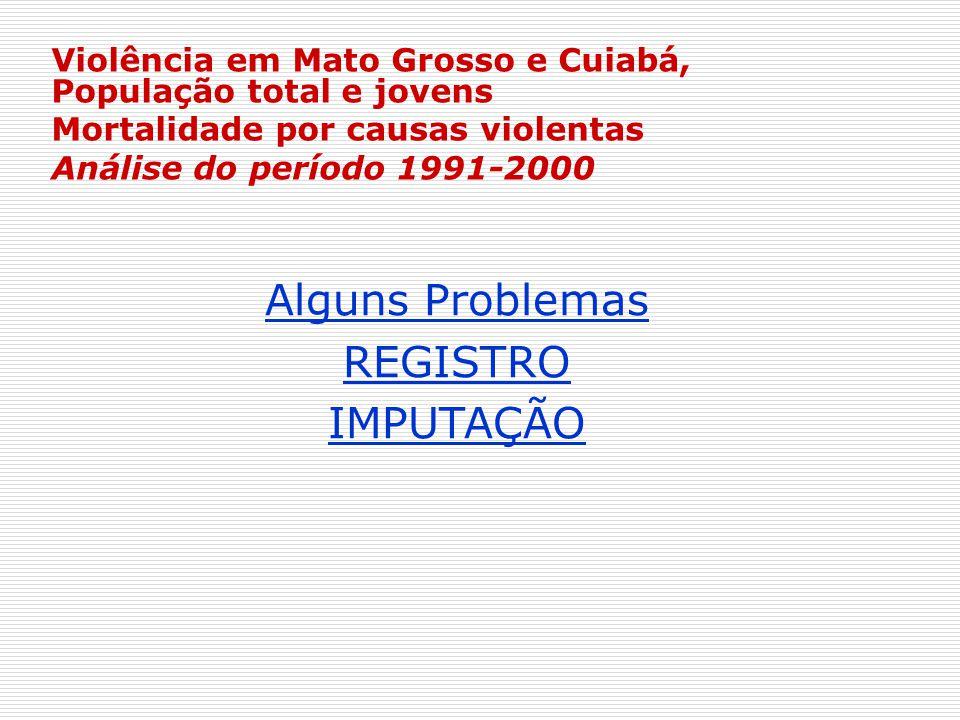 Violência em Mato Grosso e Cuiabá, População total e jovens Mortalidade por causas violentas Análise do período 1991-2000 Alguns Problemas REGISTRO IM