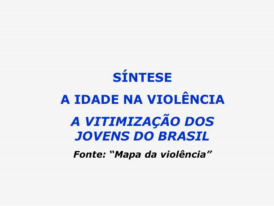 SÍNTESE A IDADE NA VIOLÊNCIA A VITIMIZAÇÃO DOS JOVENS DO BRASIL Fonte: Mapa da violência