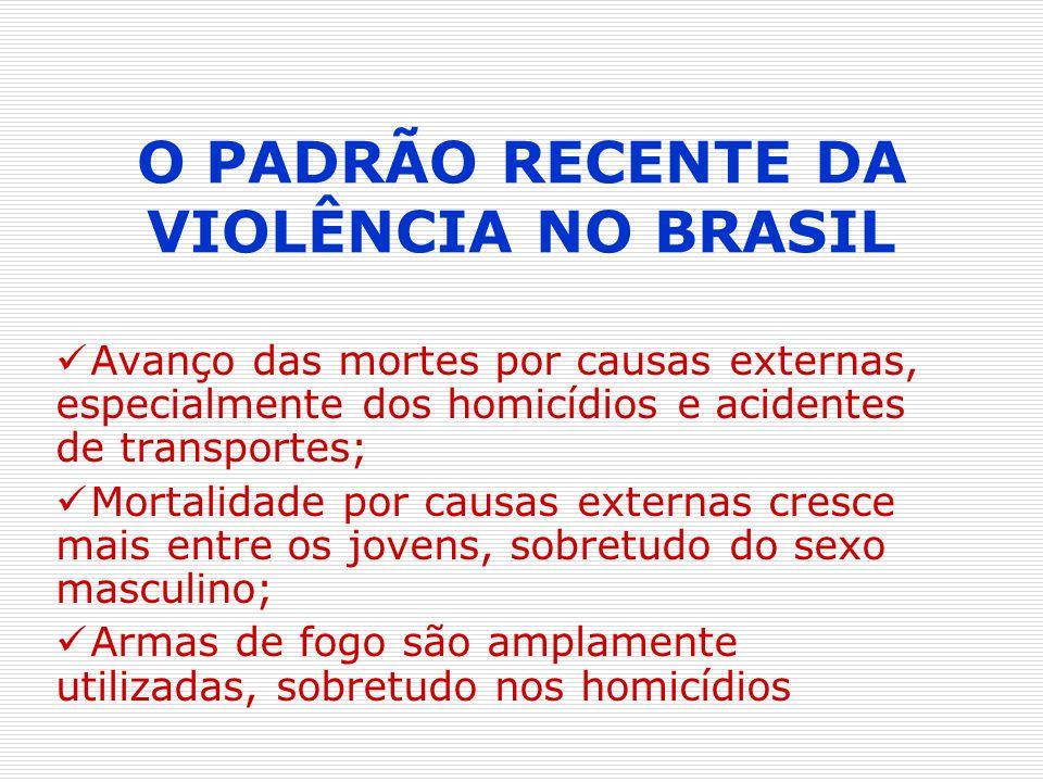 O PADRÃO RECENTE DA VIOLÊNCIA NO BRASIL Avanço das mortes por causas externas, especialmente dos homicídios e acidentes de transportes; Mortalidade po