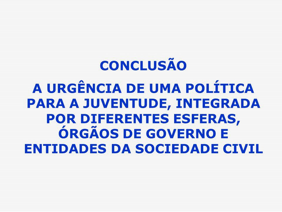 CONCLUSÃO A URGÊNCIA DE UMA POLÍTICA PARA A JUVENTUDE, INTEGRADA POR DIFERENTES ESFERAS, ÓRGÃOS DE GOVERNO E ENTIDADES DA SOCIEDADE CIVIL