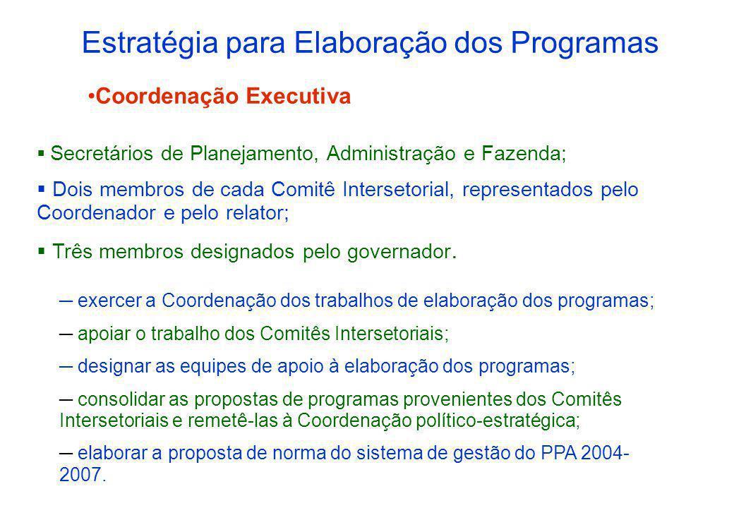 Estratégia para Elaboração dos Programas Instâncias Coordenação Político-estratégica; Governador e Secretários de Estado aprovar o PPA; definir os pro