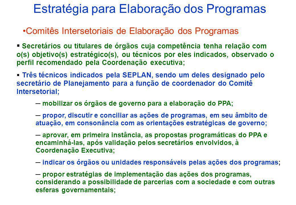 Estratégia para Elaboração dos Programas Coordenação Executiva Secretários de Planejamento, Administração e Fazenda; Dois membros de cada Comitê Inter