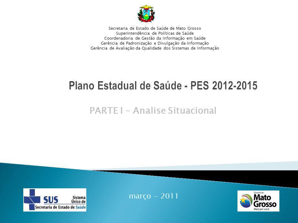 PARTE I – Analise Situacional março - 2011 Secretaria de Estado de Saúde de Mato Grosso Superintendência de Políticas de Saúde Coordenadoria de Gestão