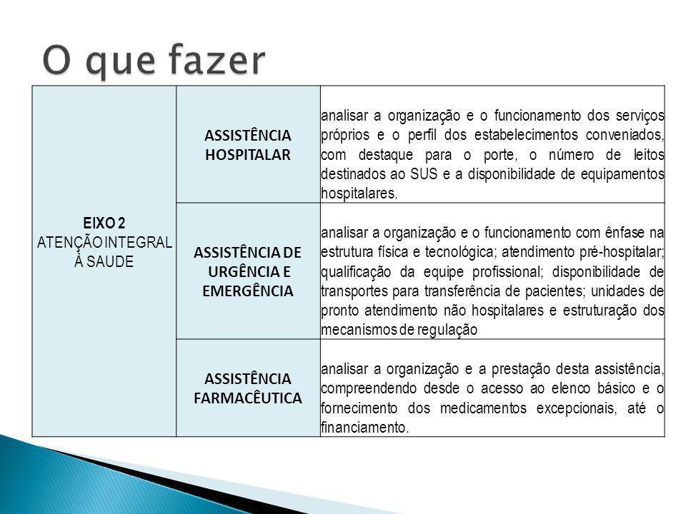EIXO 2 ATENÇÃO INTEGRAL À SAUDE ASSISTÊNCIA HOSPITALAR analisar a organização e o funcionamento dos serviços próprios e o perfil dos estabelecimentos