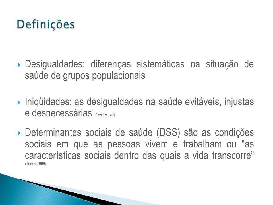 Desigualdades: diferenças sistemáticas na situação de saúde de grupos populacionais Iniqüidades: as desigualdades na saúde evitáveis, injustas e desne