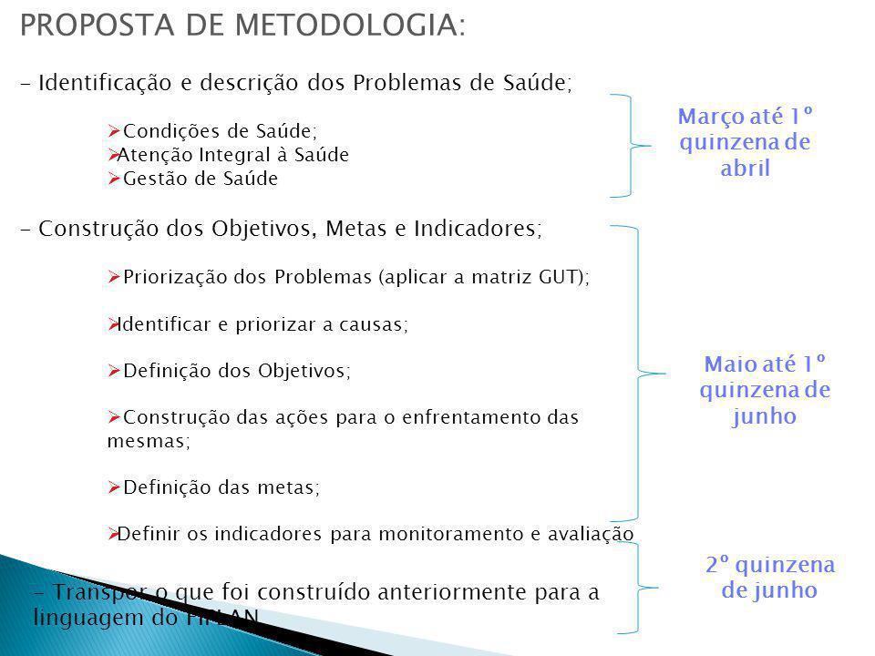 PROPOSTA DE METODOLOGIA: - Identificação e descrição dos Problemas de Saúde; Condições de Saúde; Atenção Integral à Saúde Gestão de Saúde - Construção