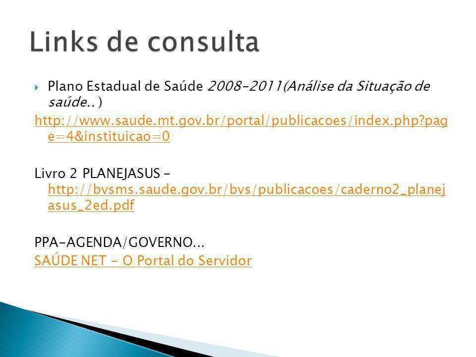 Plano Estadual de Saúde 2008-2011(Análise da Situação de saúde.. ) http://www.saude.mt.gov.br/portal/publicacoes/index.php?pag e=4&instituicao=0 Livro