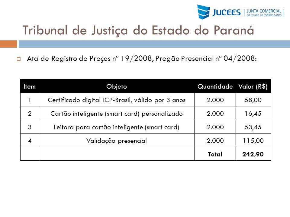 Tribunal de Justiça do Estado do Paraná Ata de Registro de Preços nº 19/2008, Pregão Presencial nº 04/2008: ItemObjetoQuantidadeValor (R$) 1Certificad