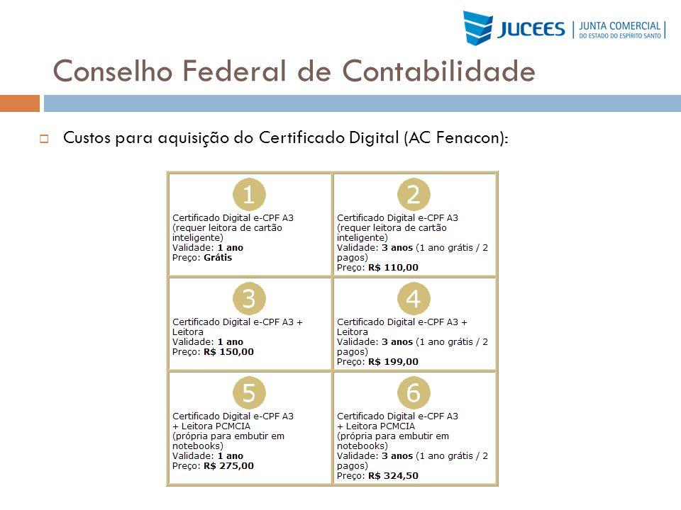 Conselho Federal de Contabilidade Custos para aquisição do Certificado Digital (AC Fenacon):
