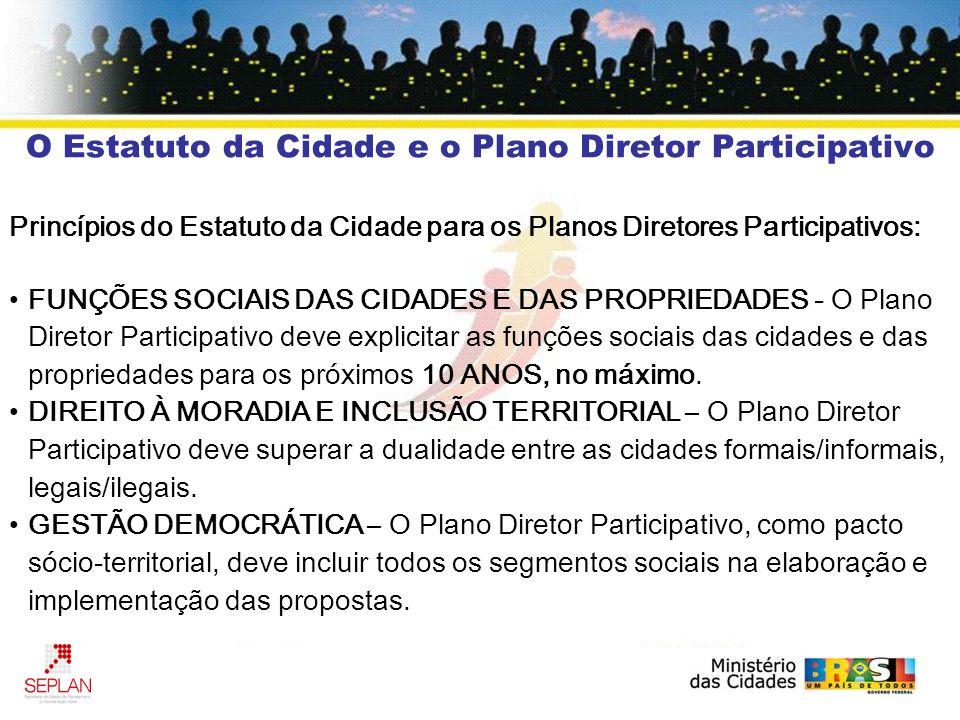 O Estatuto da Cidade e o Plano Diretor Participativo Princípios do Estatuto da Cidade para os Planos Diretores Participativos: FUNÇÕES SOCIAIS DAS CID
