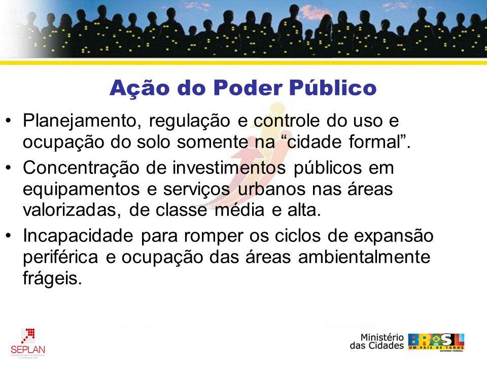 Ação do Poder Público Planejamento, regulação e controle do uso e ocupação do solo somente na cidade formal. Concentração de investimentos públicos em