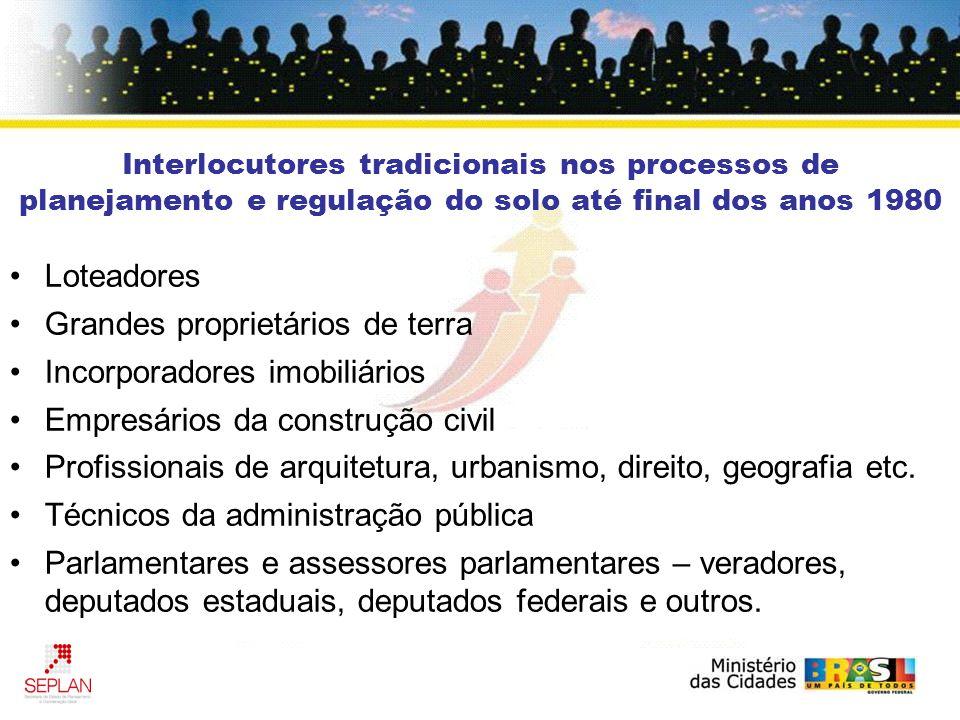 Interlocutores tradicionais nos processos de planejamento e regulação do solo até final dos anos 1980 Loteadores Grandes proprietários de terra Incorp