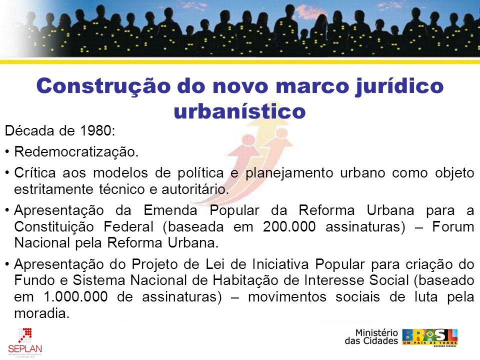 Construção do novo marco jurídico urbanístico Década de 1980: Redemocratização. Crítica aos modelos de política e planejamento urbano como objeto estr