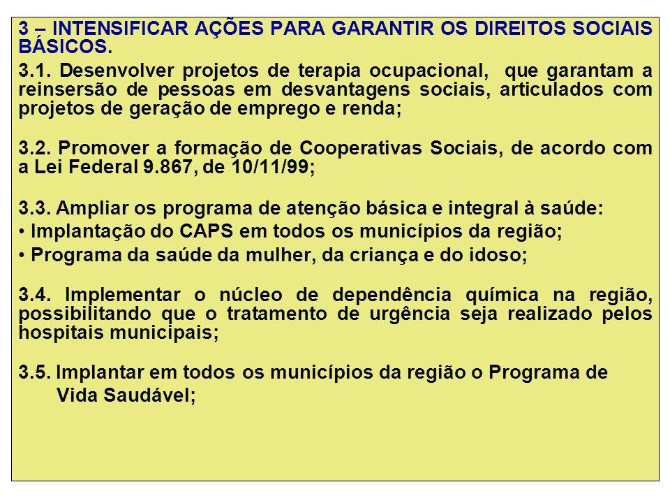 3 – INTENSIFICAR AÇÕES PARA GARANTIR OS DIREITOS SOCIAIS BÁSICOS.