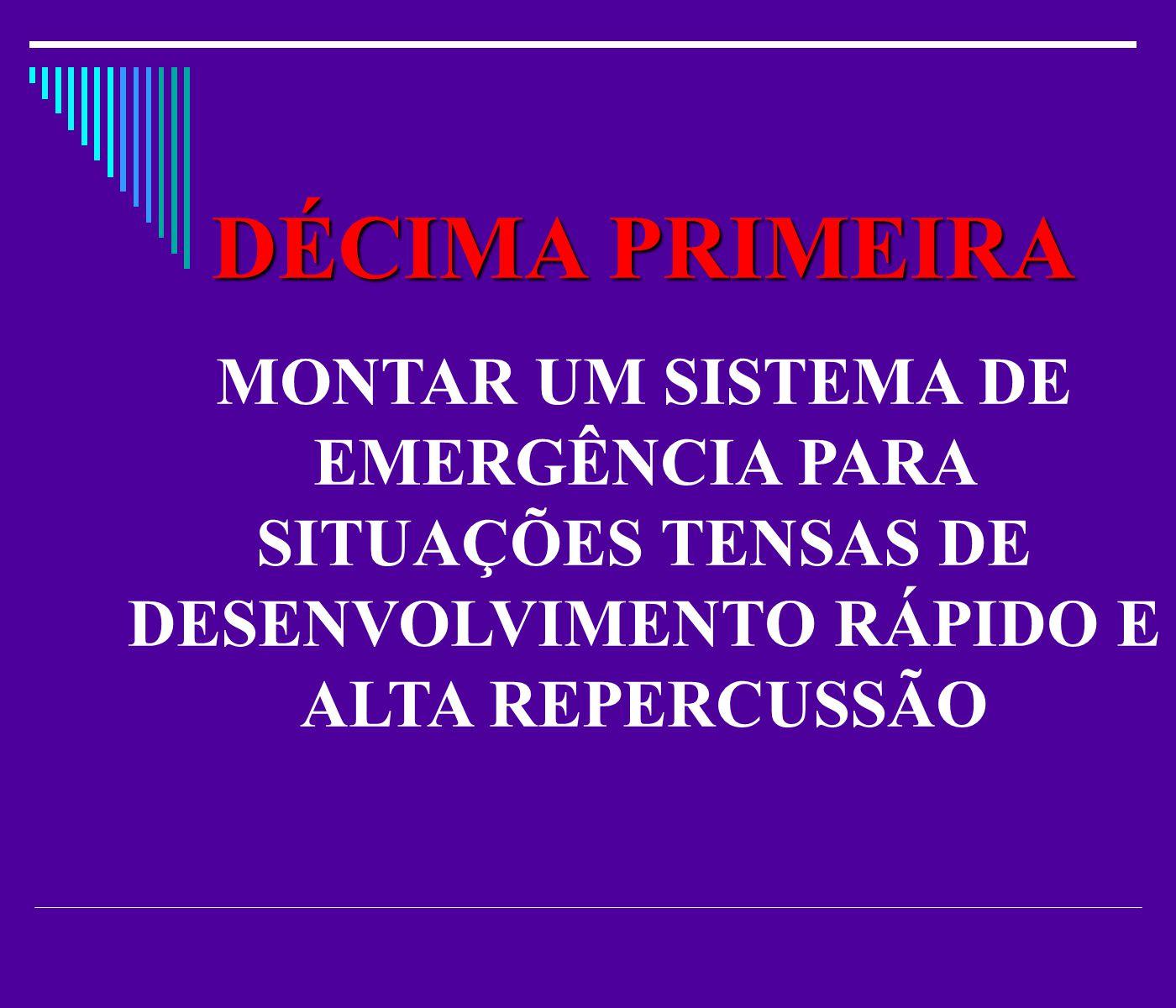 DÉCIMA PRIMEIRA MONTAR UM SISTEMA DE EMERGÊNCIA PARA SITUAÇÕES TENSAS DE DESENVOLVIMENTO RÁPIDO E ALTA REPERCUSSÃO