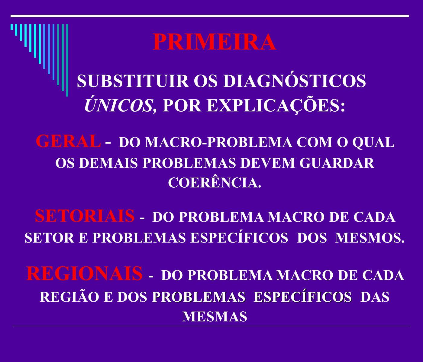 PRIMEIRA SUBSTITUIR OS DIAGNÓSTICOS ÚNICOS, POR EXPLICAÇÕES: GERAL - DO MACRO-PROBLEMA COM O QUAL OS DEMAIS PROBLEMAS DEVEM GUARDAR COERÊNCIA.