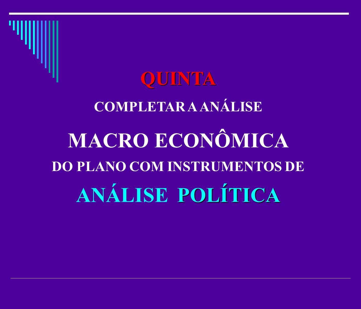 QUINTA COMPLETAR A ANÁLISE MACRO ECONÔMICA DO PLANO COM INSTRUMENTOS DE POLÍTICA ANÁLISE POLÍTICA