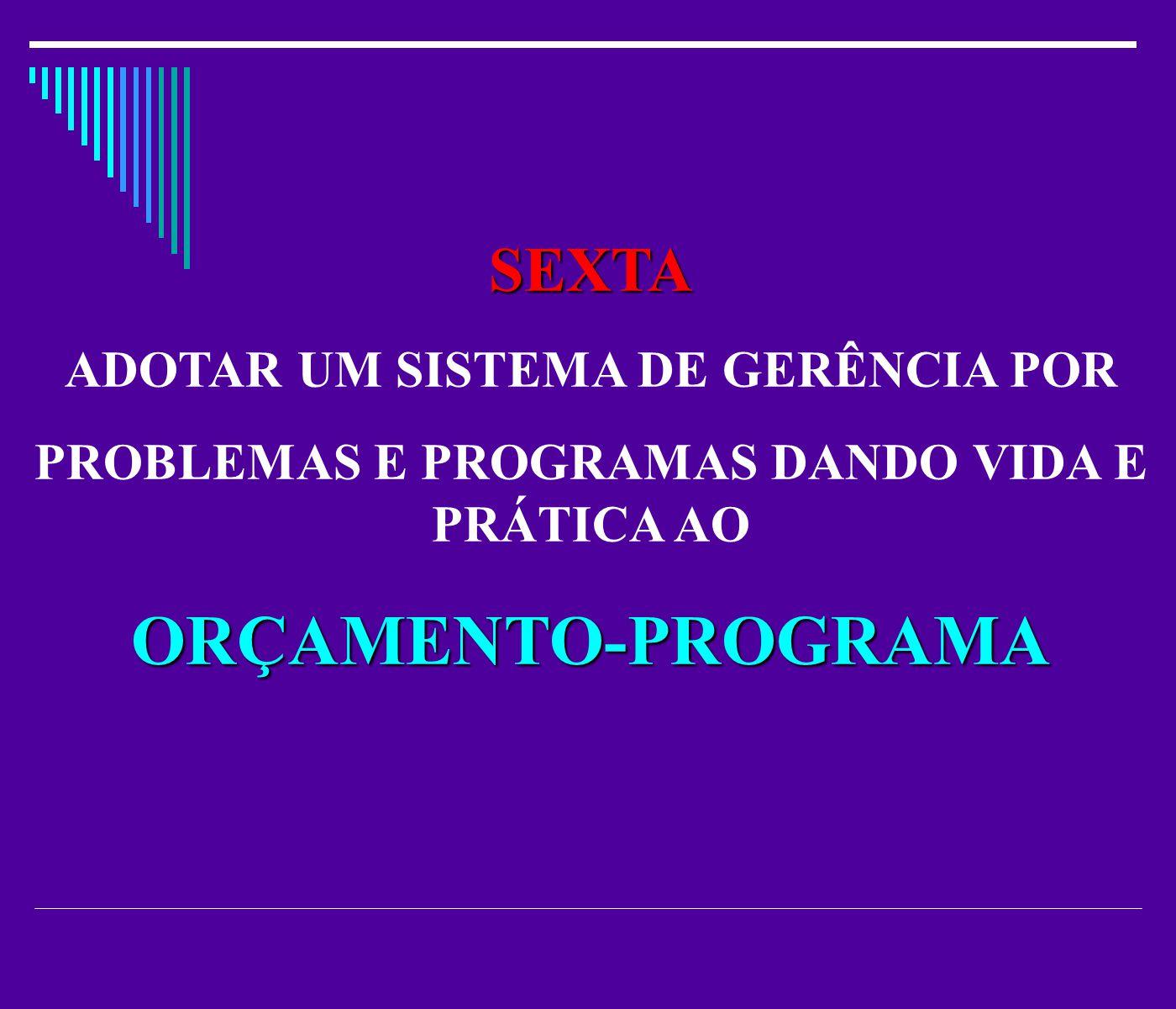 SEXTA ADOTAR UM SISTEMA DE GERÊNCIA POR PROBLEMAS E PROGRAMAS DANDO VIDA E PRÁTICA AOORÇAMENTO-PROGRAMA