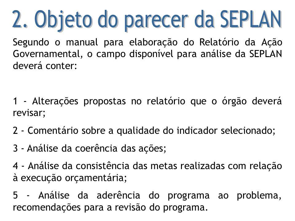 Segundo o manual para elaboração do Relatório da Ação Governamental, o campo disponível para análise da SEPLAN deverá conter: 1 - Alterações propostas