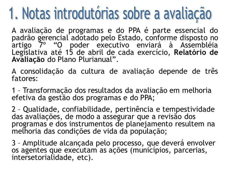 A avaliação de programas e do PPA é parte essencial do padrão gerencial adotado pelo Estado, conforme disposto no artigo 7º O poder executivo enviará
