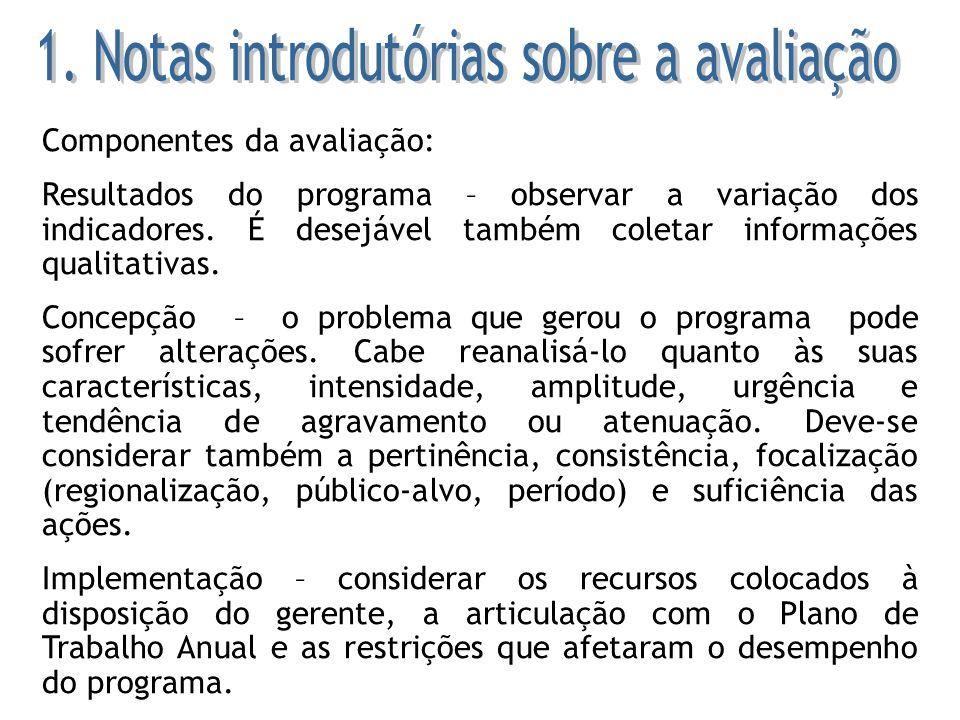 6 – Conferir se as categorias de restrições sugeridas no manual foram adotadas pelos responsáveis por programa para organizar a sua avaliação, permitindo a devida classificação dos problemas verificados.
