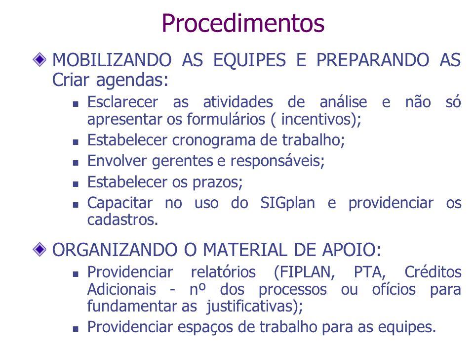 Procedimentos MOBILIZANDO AS EQUIPES E PREPARANDO AS Criar agendas: Esclarecer as atividades de análise e não só apresentar os formulários ( incentivo