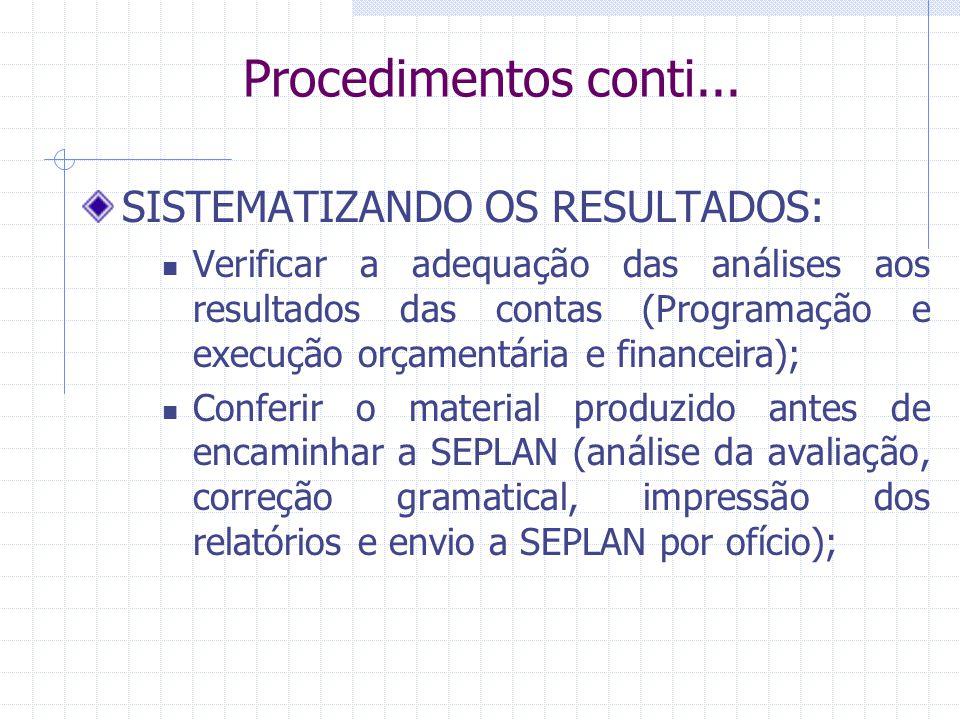 Procedimentos conti... SISTEMATIZANDO OS RESULTADOS: Verificar a adequação das análises aos resultados das contas (Programação e execução orçamentária