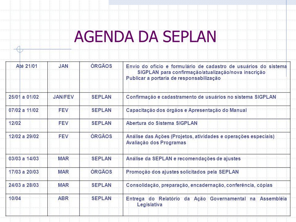 AGENDA DA SEPLAN Até 21/01JANÓRGÃOSEnvio do ofício e formulário de cadastro de usuários do sistema SIGPLAN para confirmação/atualização/nova inscrição