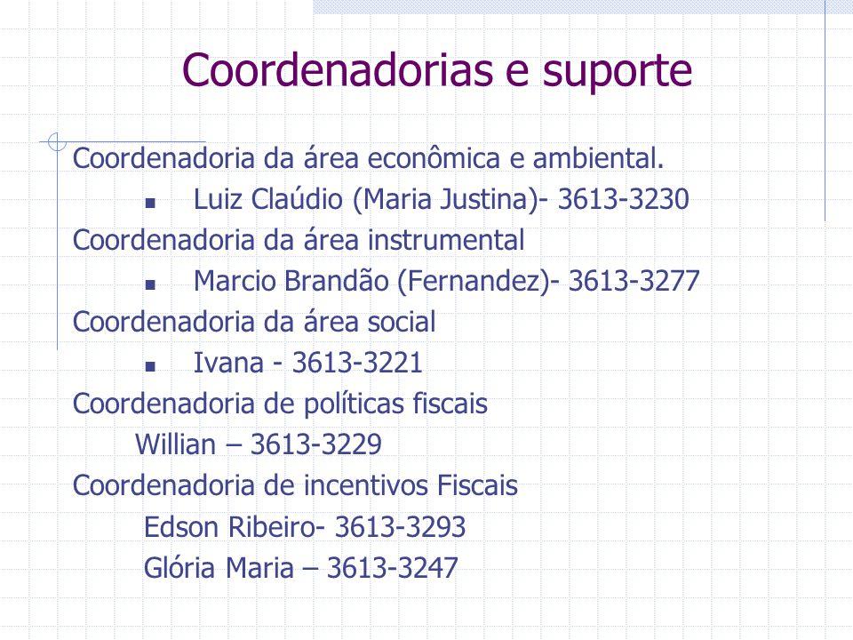 Coordenadorias e suporte Coordenadoria da área econômica e ambiental. Luiz Claúdio (Maria Justina)- 3613-3230 Coordenadoria da área instrumental Marci