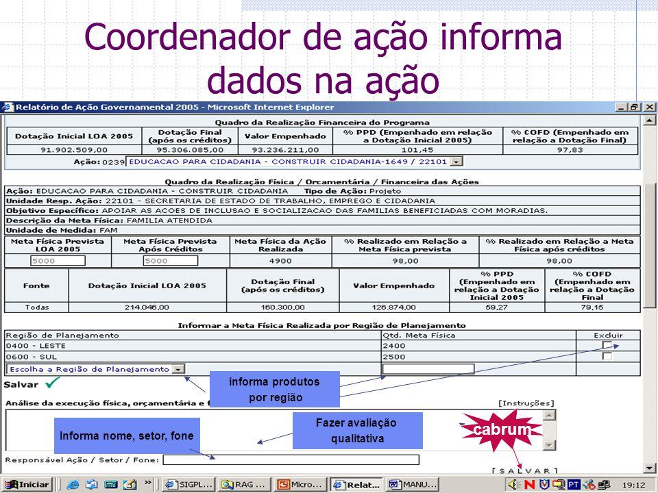 Coordenador de ação informa dados na ação informa produtos por região Fazer avaliação qualitativa Informa nome, setor, fone cabrum