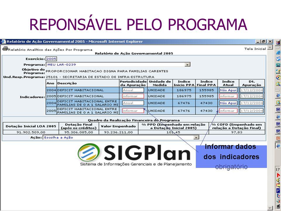 REPONSÁVEL PELO PROGRAMA Informar dados dos indicadores obrigatório