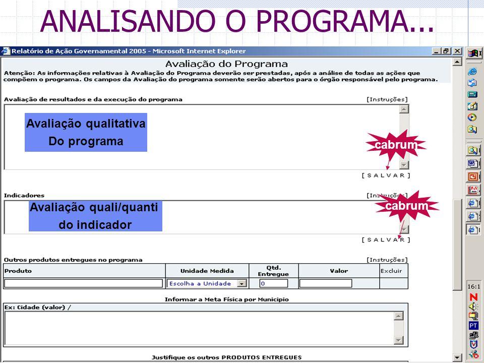 ANALISANDO O PROGRAMA... Avaliação qualitativa Do programa Avaliação quali/quanti do indicador cabrum